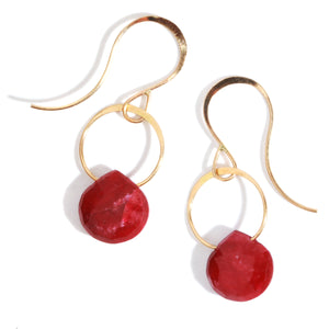 Ruby single drop earrings - Melissa Joy Manning Jewelry