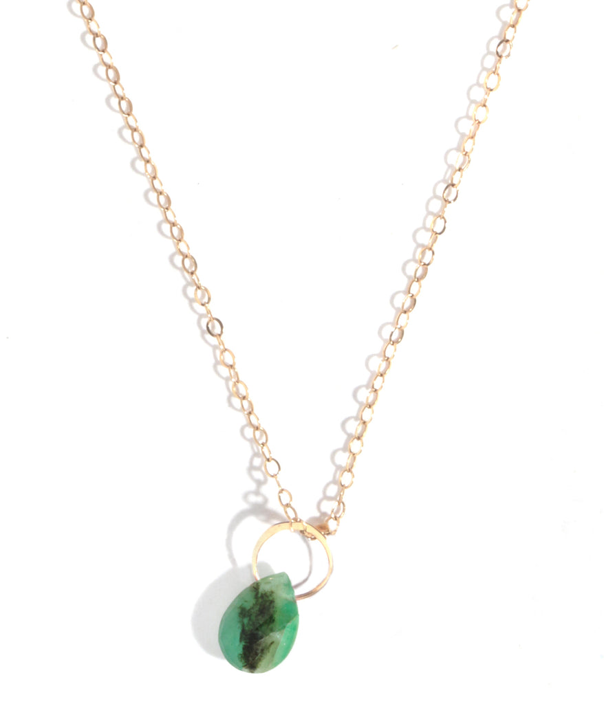 Single emerald drop necklace - Melissa Joy Manning Jewelry