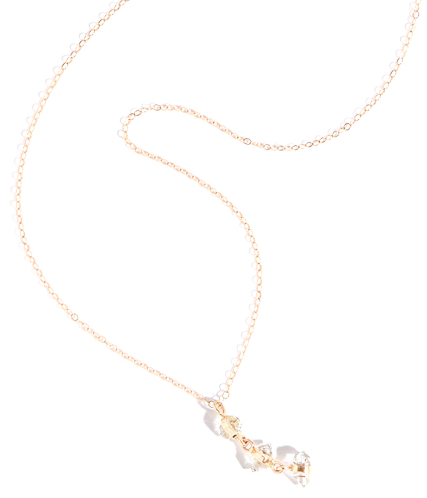 Three Herkimer diamond necklace - Melissa Joy Manning Jewelry