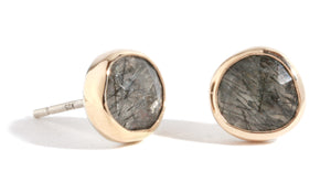 Tourmalated quartz stud earrings