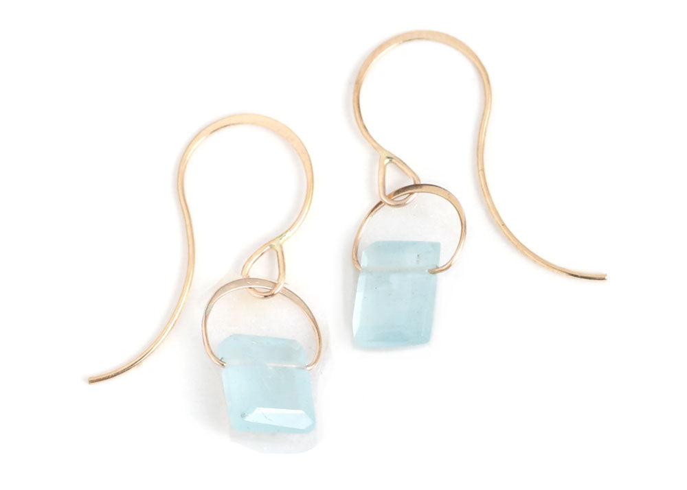 Emerald Cut Aquamarine Drop Earrings