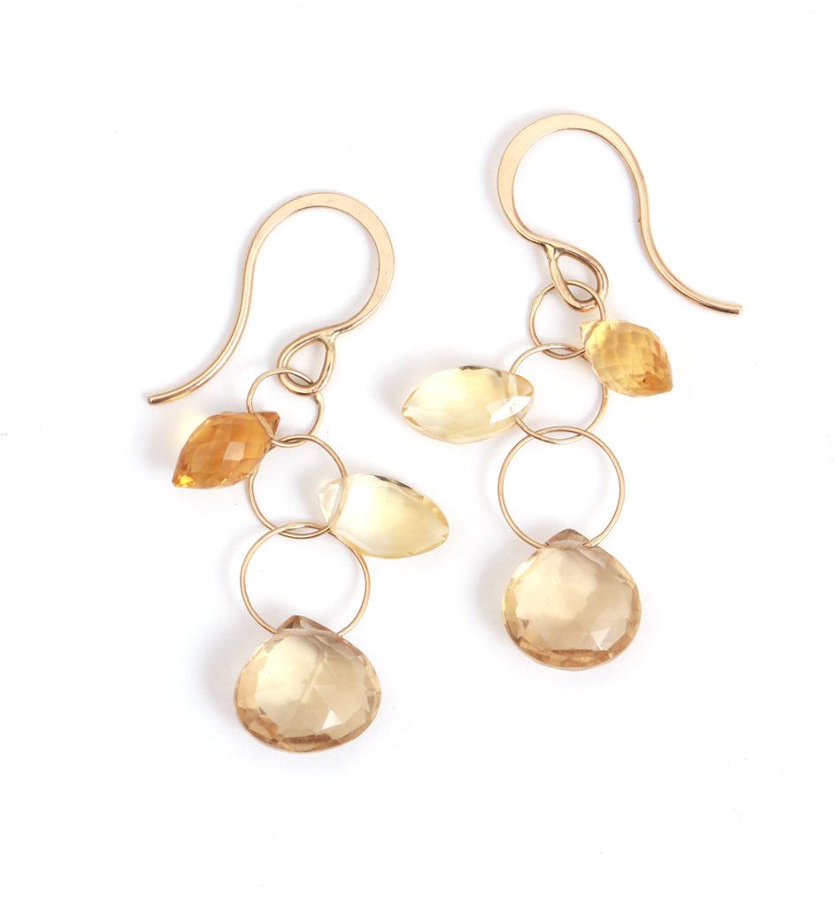 Citrine and Champagne Quartz 3 Drop Earrings