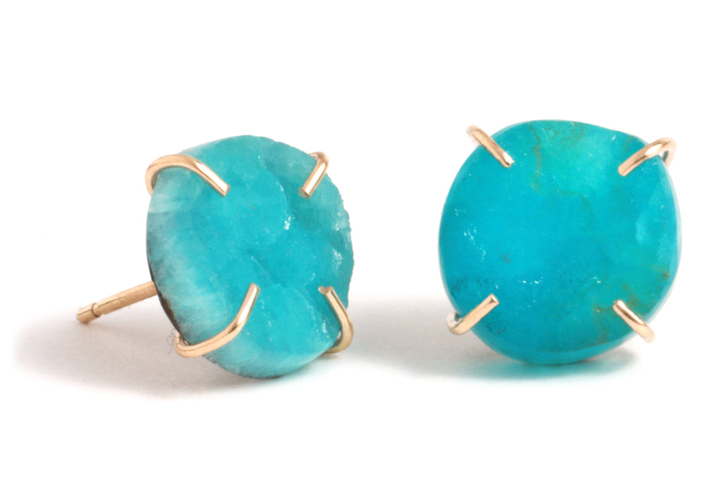 Hemimorphite Druzy Stud Earrings