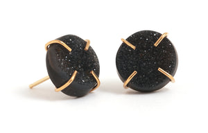 Black Druzy Stud Earrings - Melissa Joy Manning Jewelry