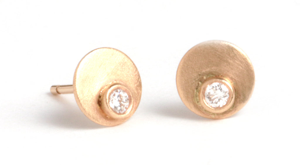 Diamond Circle Stud Earrings - Melissa Joy Manning Jewelry
