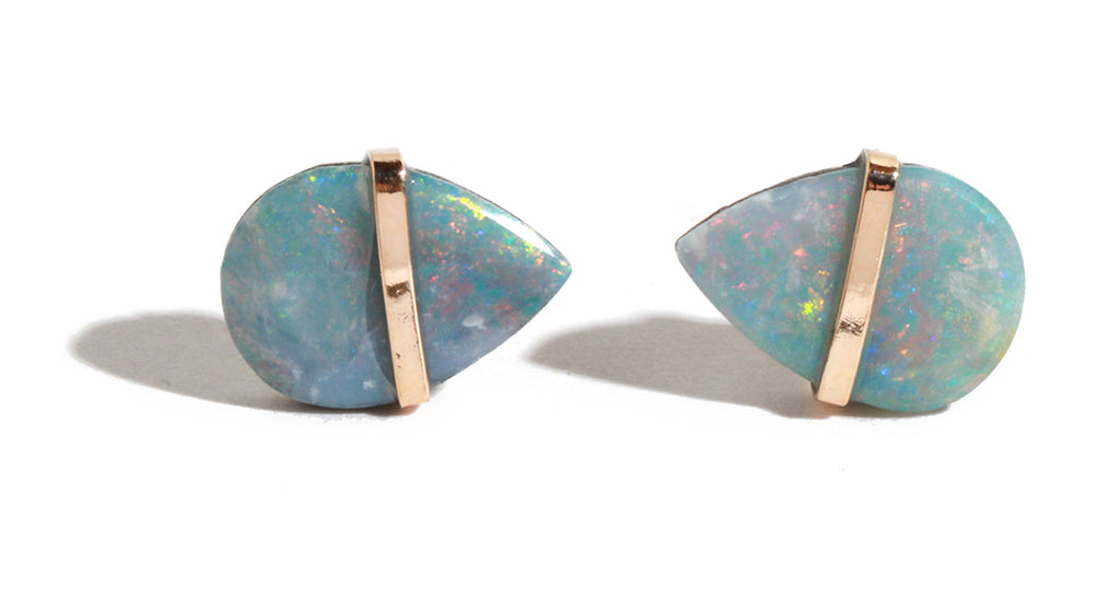 Bezel Wrapped Opal Stud Earrings - Melissa Joy Manning Jewelry