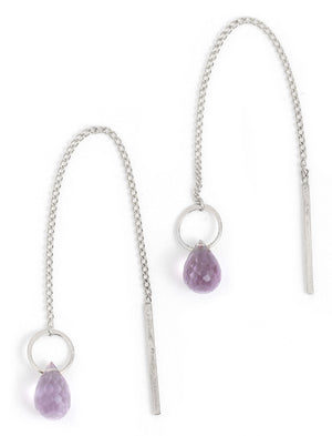 Gemstone Pull Through Chain Earrings - Silver - Melissa Joy Manning Jewelry