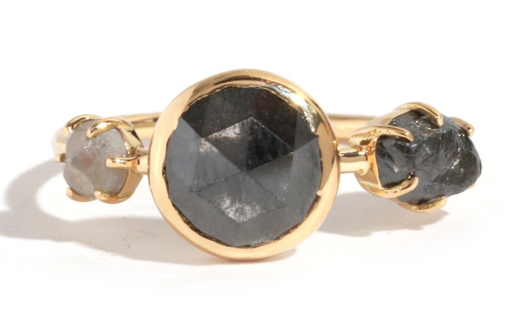 Natural Black and Grey Triple Diamond Ring - Melissa Joy Manning Jewelry