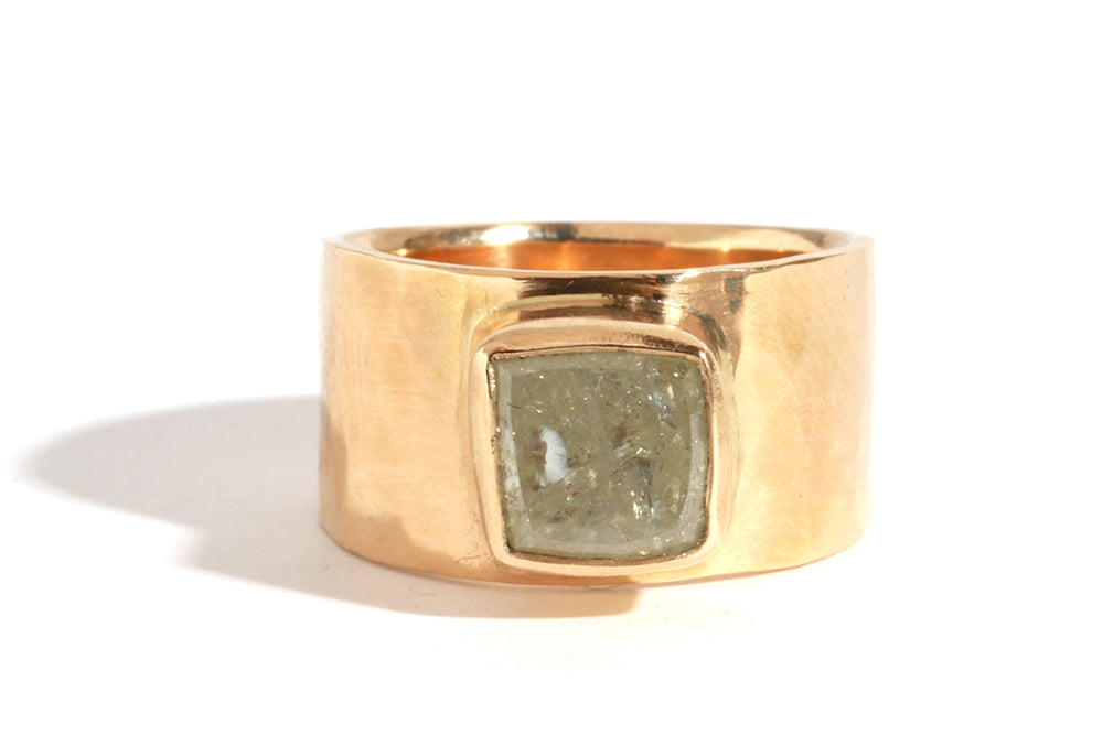 Raw Square Diamond Cigar Band Ring - Melissa Joy Manning Jewelry