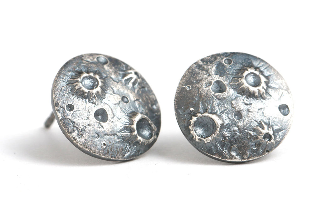 Oxidized Silver Full Moon Studs
