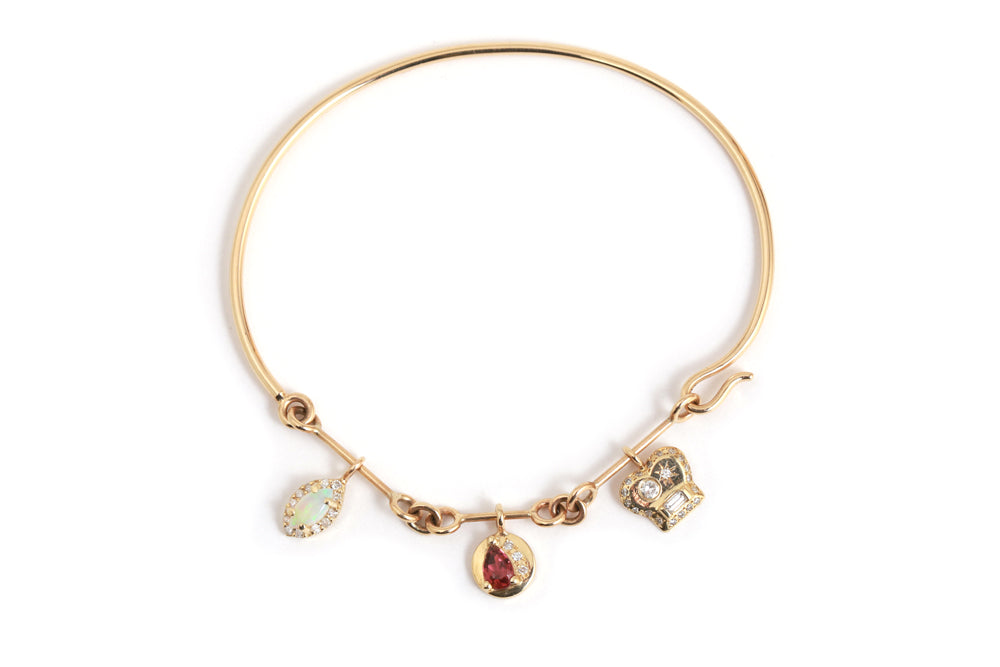 Diamond and Opal Charm Bangle - Melissa Joy Manning Jewelry