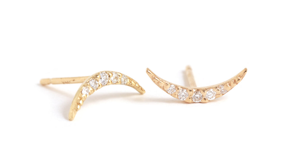 Tiny Diamond Crescent Stud Earrings - Melissa Joy Manning Jewelry