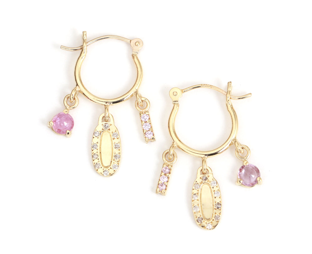 Diamond and Pink Sapphire Charm Hoops - Melissa Joy Manning Jewelry