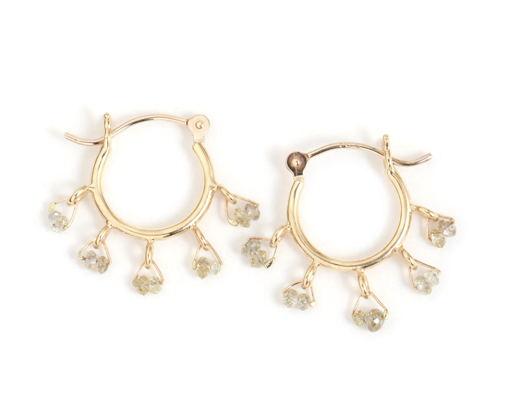 Diamond Beaded Cha Cha Hoops - Melissa Joy Manning Jewelry