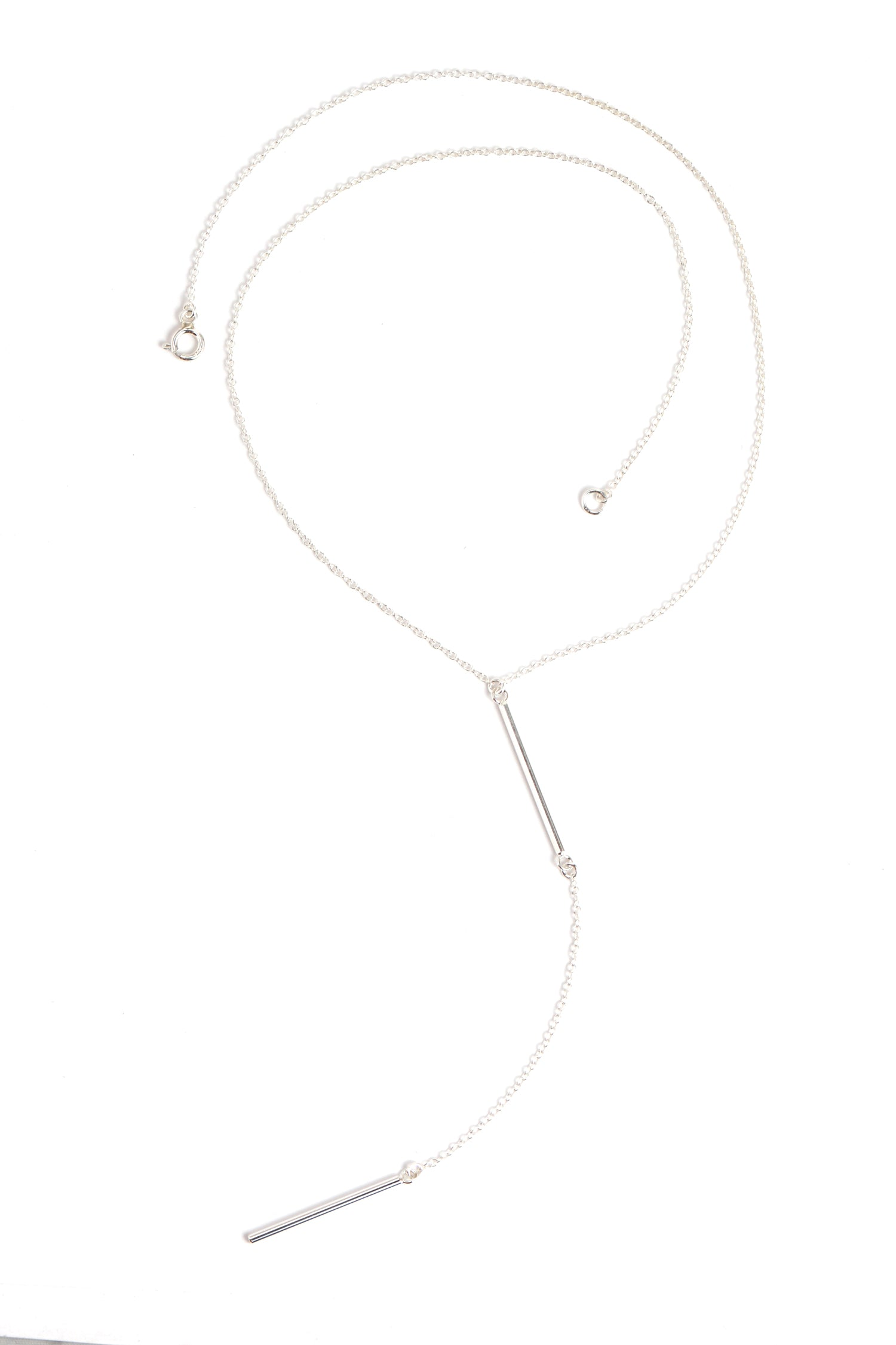 Silver Bar Lariat Necklace