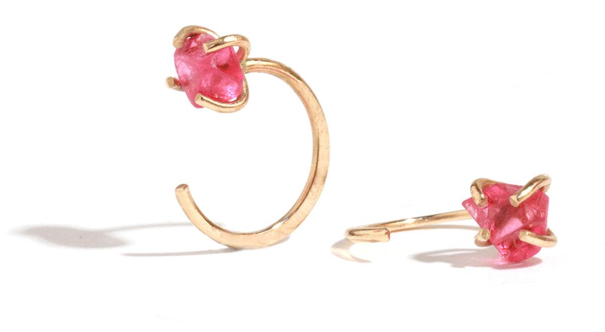 Raw Spinel Hug Hoops - Melissa Joy Manning Jewelry