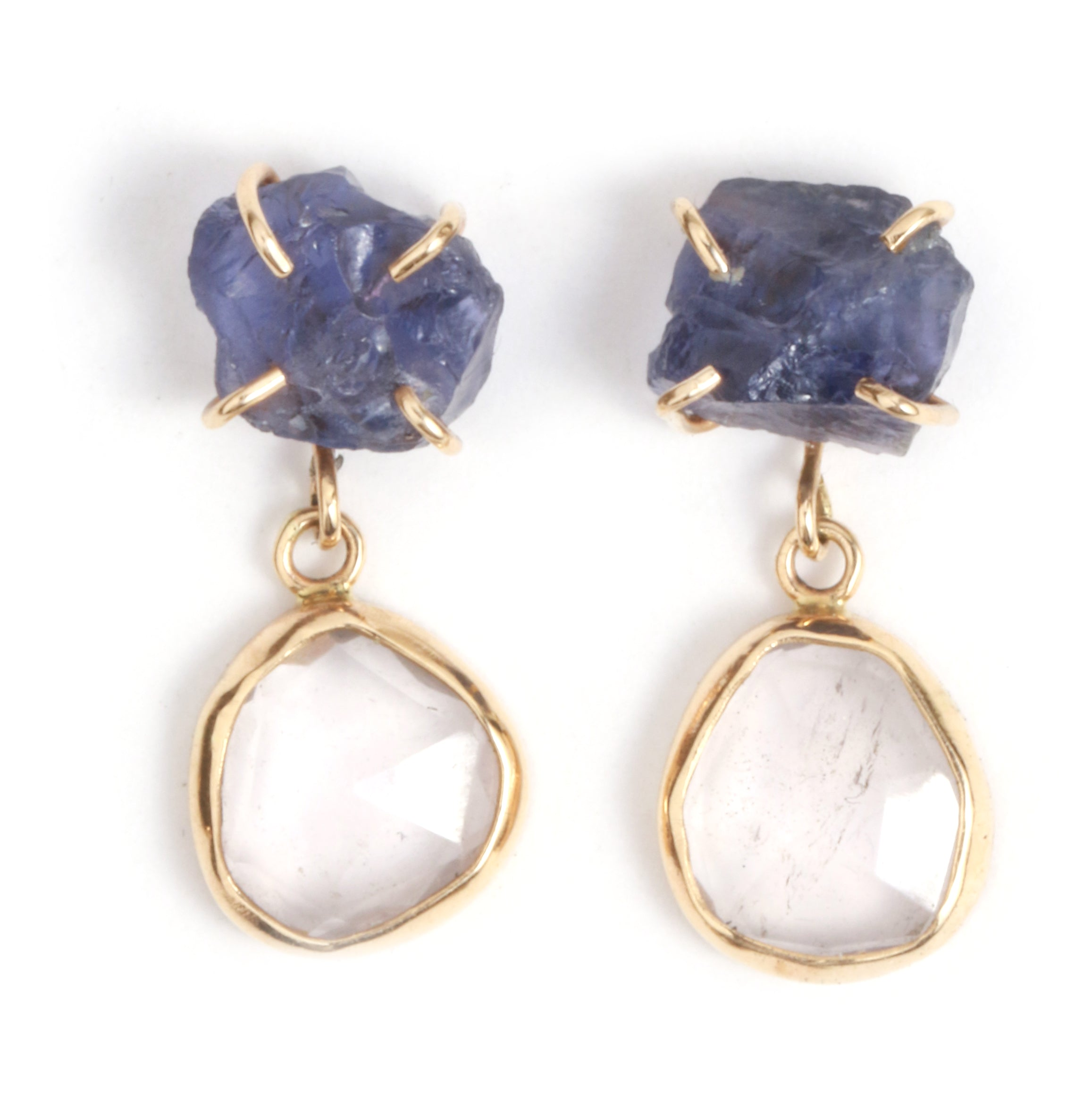 Iolite and Rose Quartz Drop Earrings - Melissa Joy Manning Jewelry