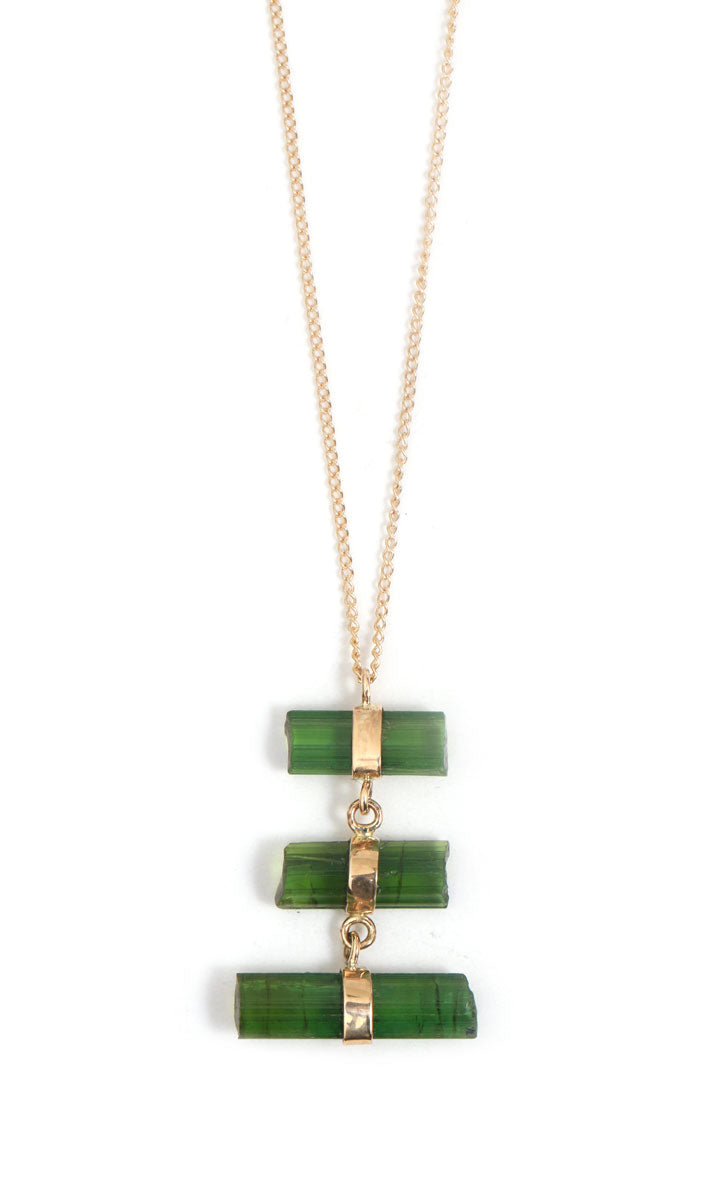 Green Tourmaline Stick Necklace