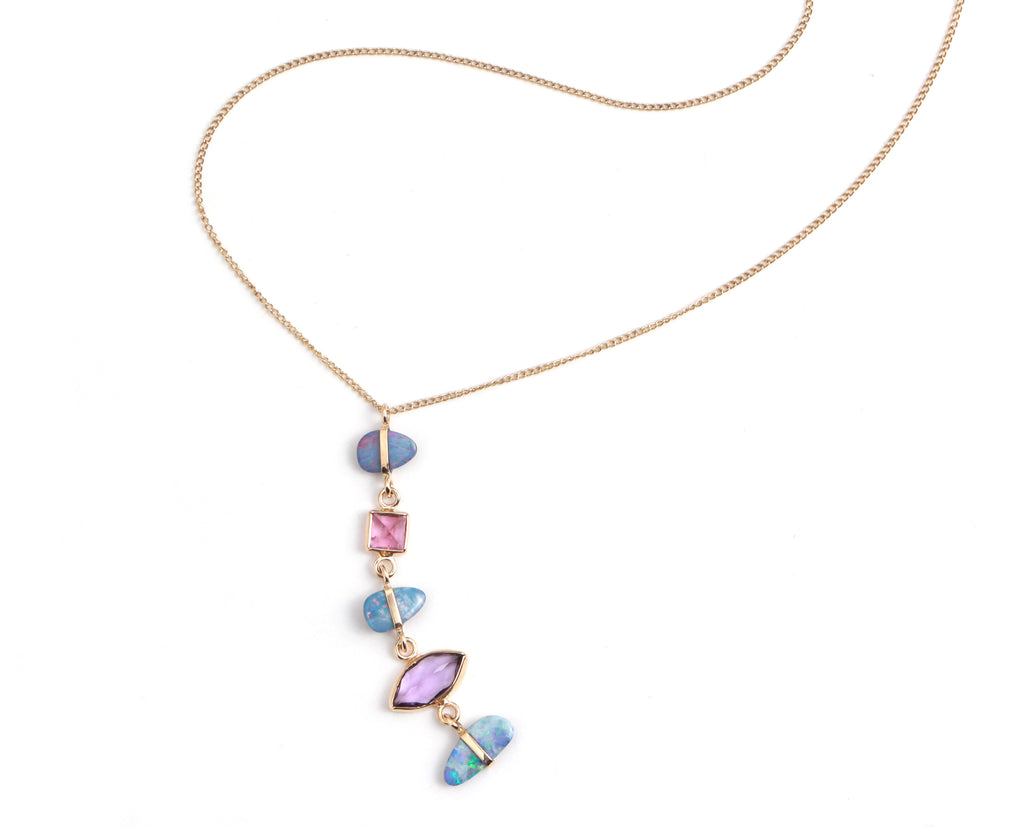 Opal, Tourmaline, and Amethyst Five Drop Necklace - Melissa Joy Manning Jewelry