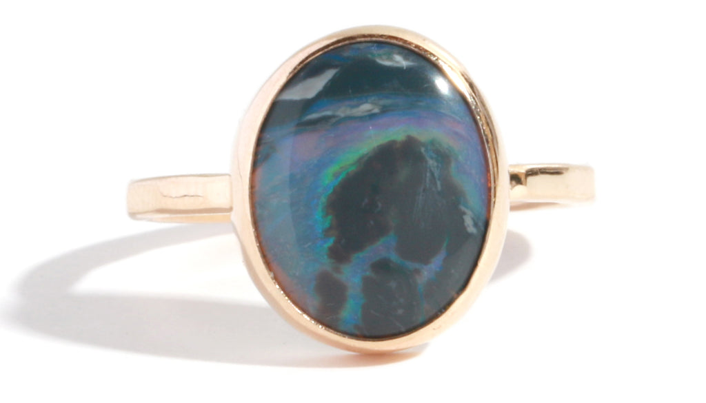 Black Opal Cabochon Ring - Melissa Joy Manning Jewelry
