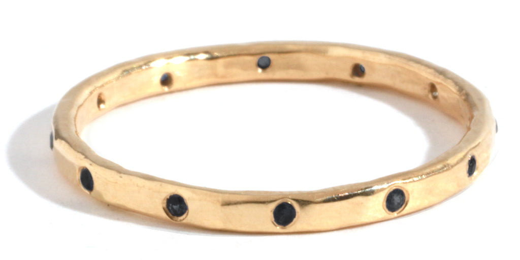 12 Black Diamond Band - 18 Karat Yellow Gold - Melissa Joy Manning Jewelry