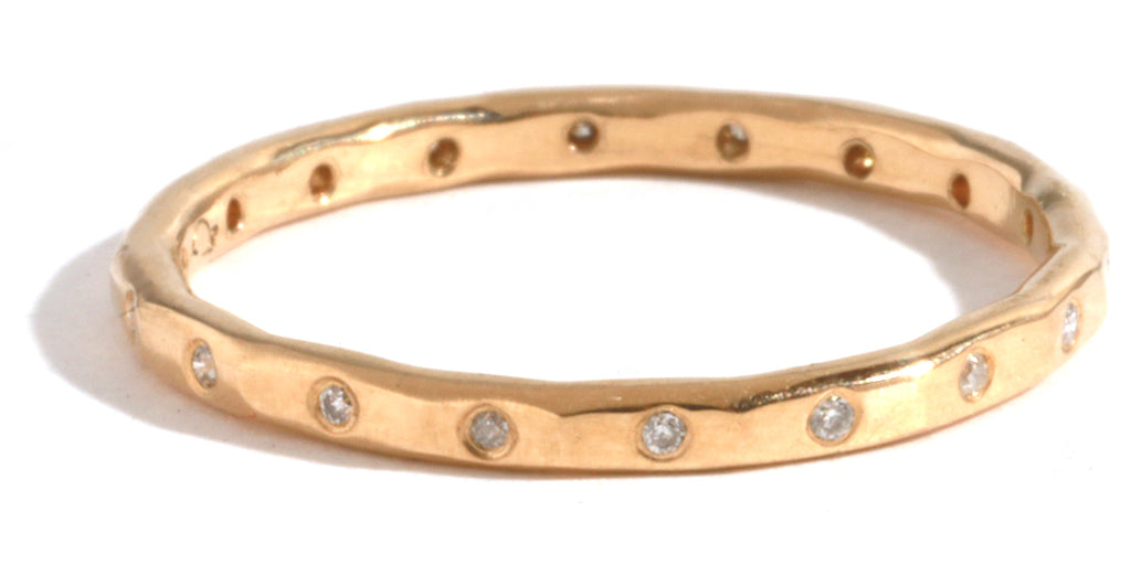 18 White Diamond Band - 18 Karat Yellow Gold - Melissa Joy Manning Jewelry