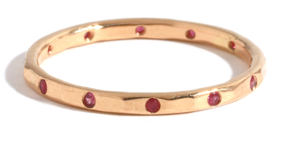 12 Ruby Band - 18 Karat Rose Gold - Melissa Joy Manning Jewelry