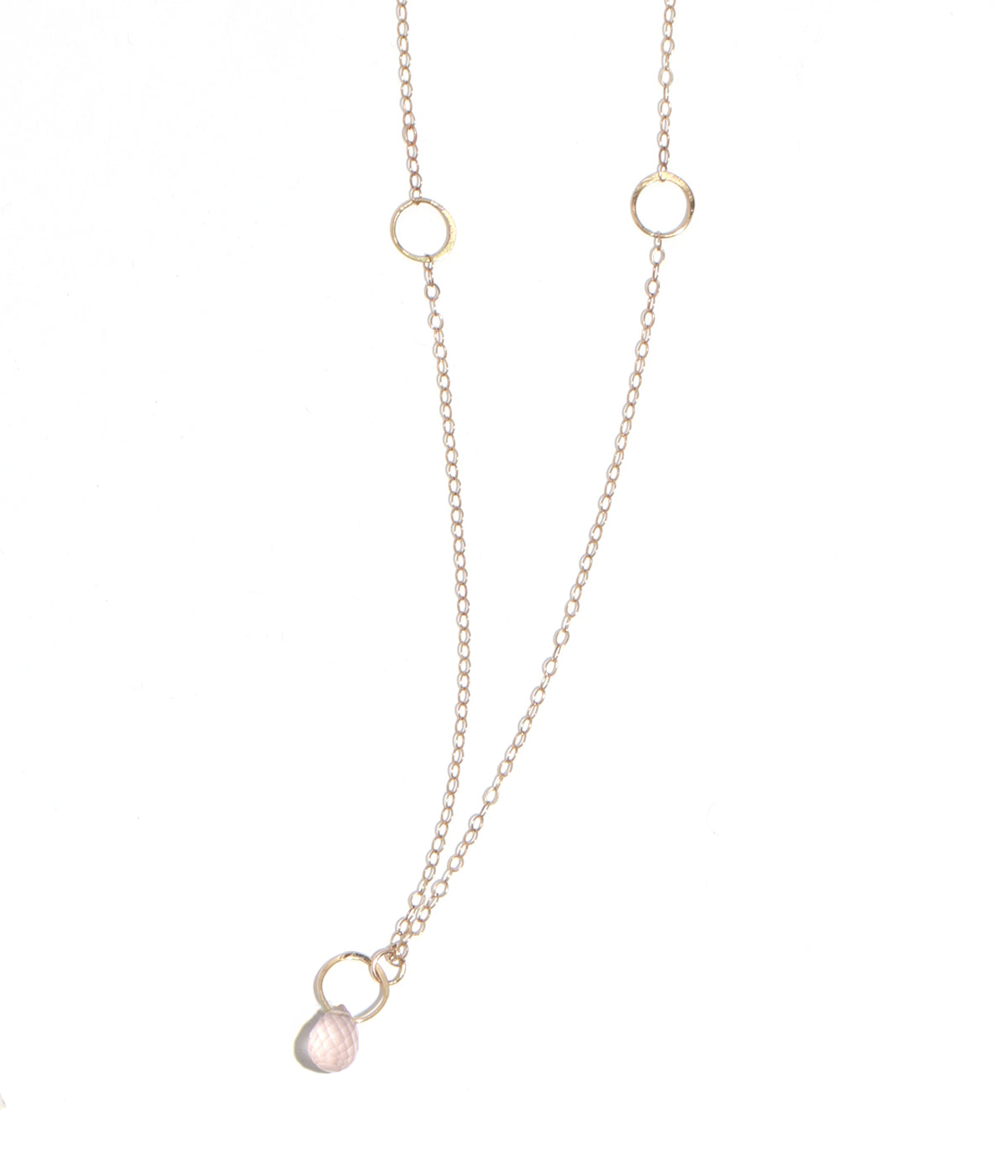 Rose Quartz single drop necklace - Melissa Joy Manning Jewelry
