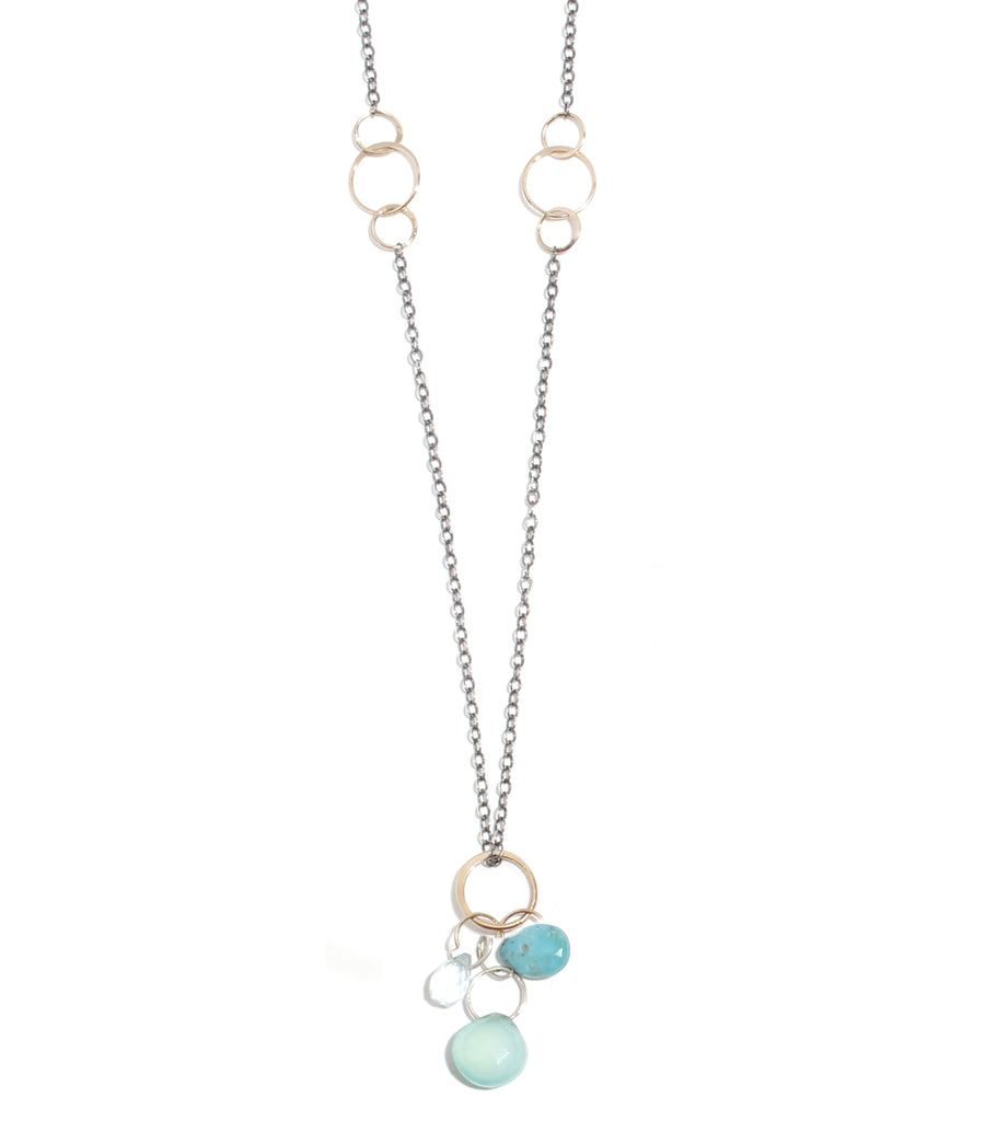 Aquamarine, Turquoise, and Green Chalcedony Drop Neckalce - Melissa Joy Manning Jewelry