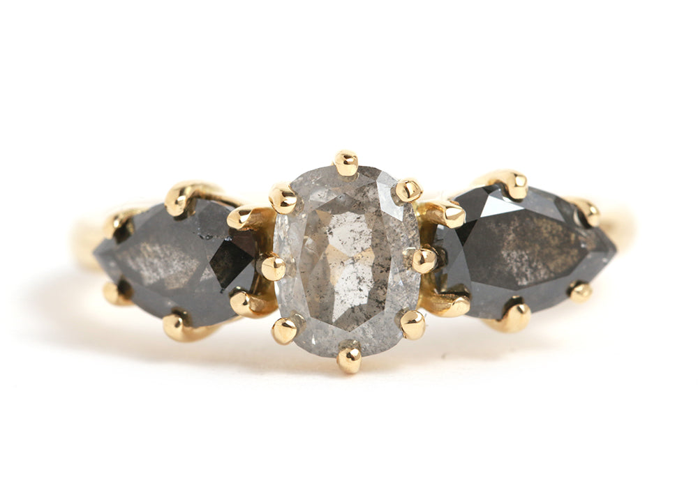 Grey and Black Three Diamond Ring