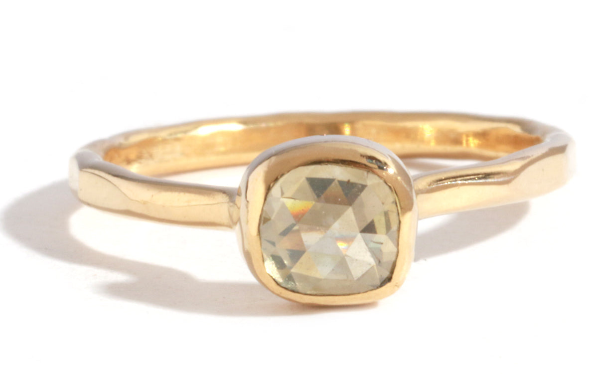 Pale Yellow Square Rosecut Diamond Ring - Melissa Joy Manning Jewelry