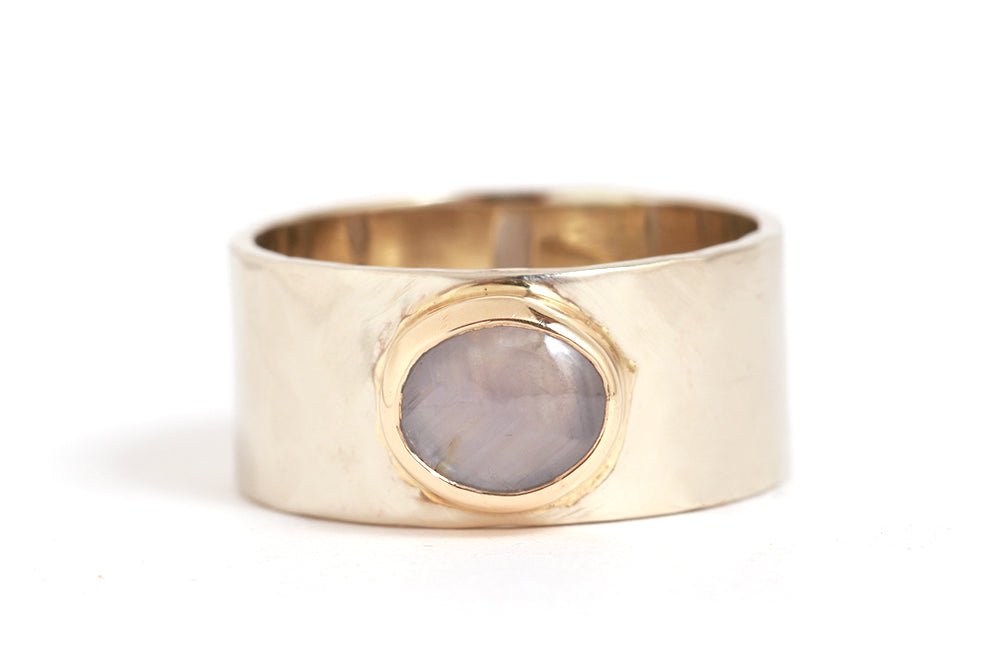 Star Sapphire Cigar Band Ring - Melissa Joy Manning Jewelry