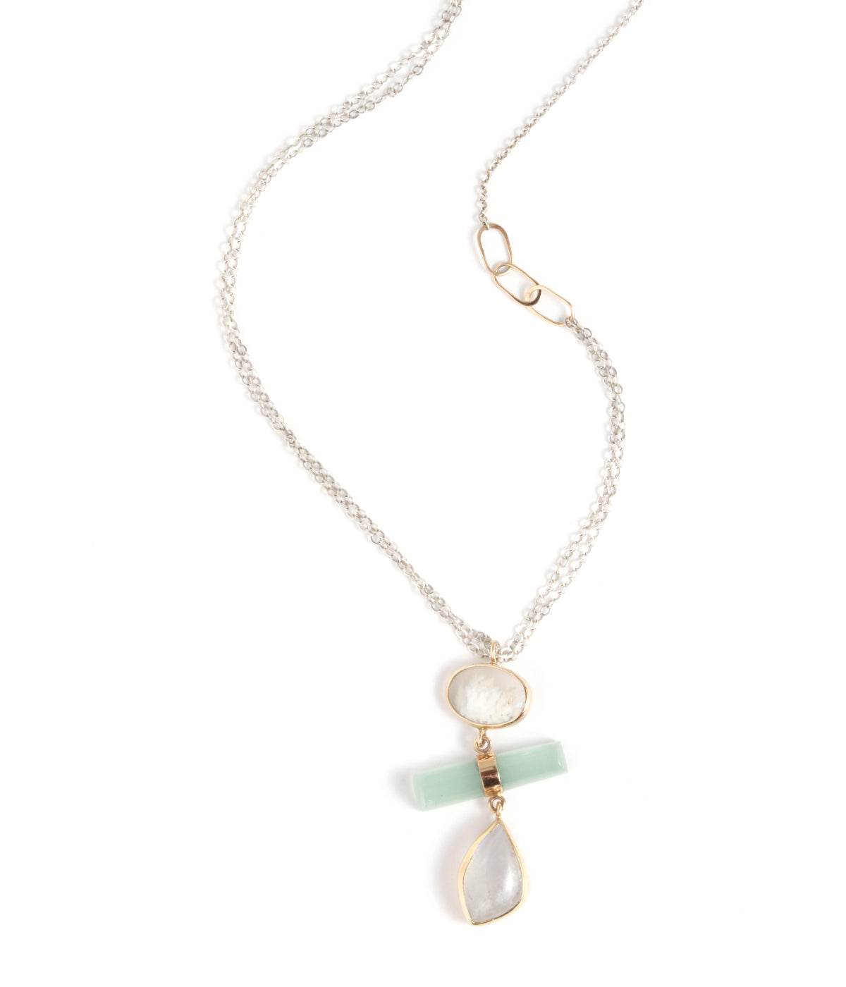 Plume Agate, Aquamarine, and Moonstone Drop Necklace - Melissa Joy Manning Jewelry