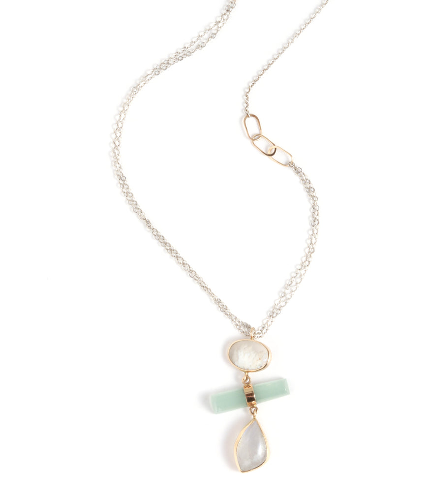 Plume Agate, Aquamarine, and Moonstone Drop Necklace