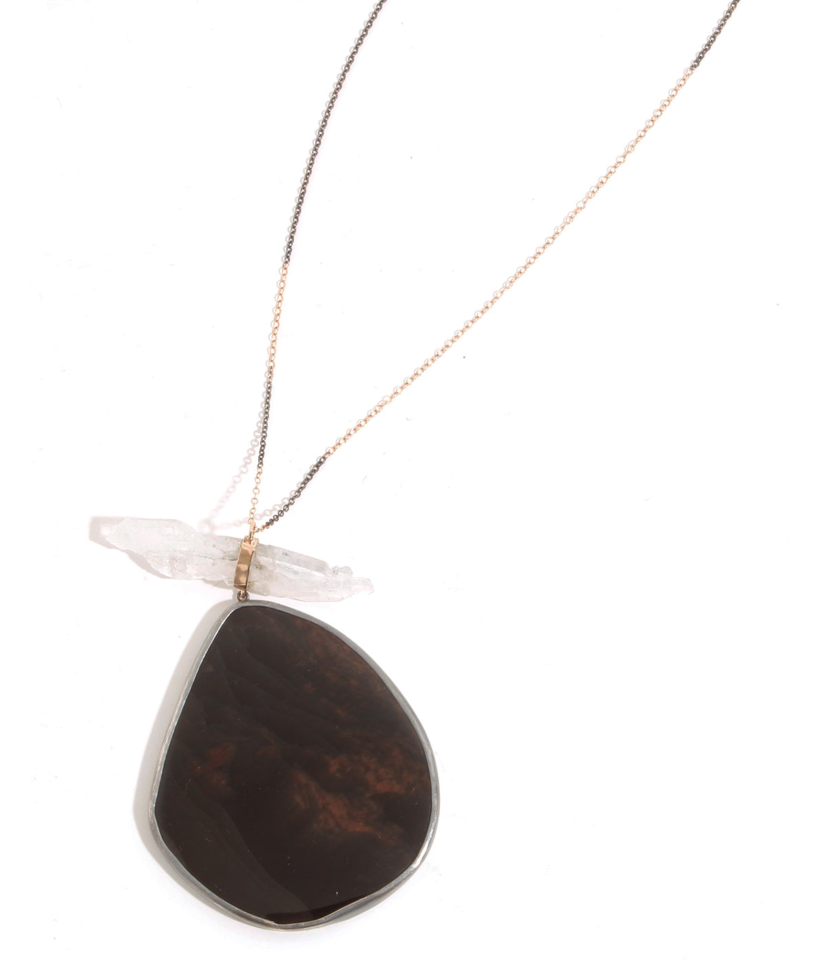 Fadden Quartz and Fire Obsidian Necklace - Melissa Joy Manning Jewelry