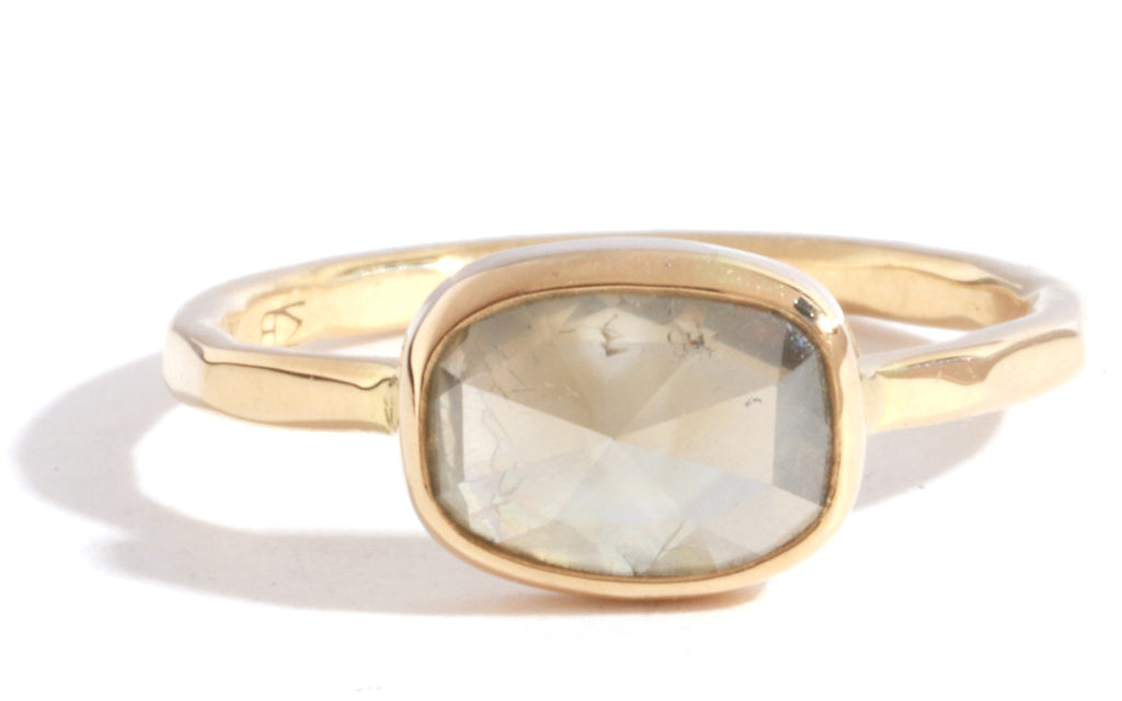Translucent Yellow Grey Oval Diamond Ring