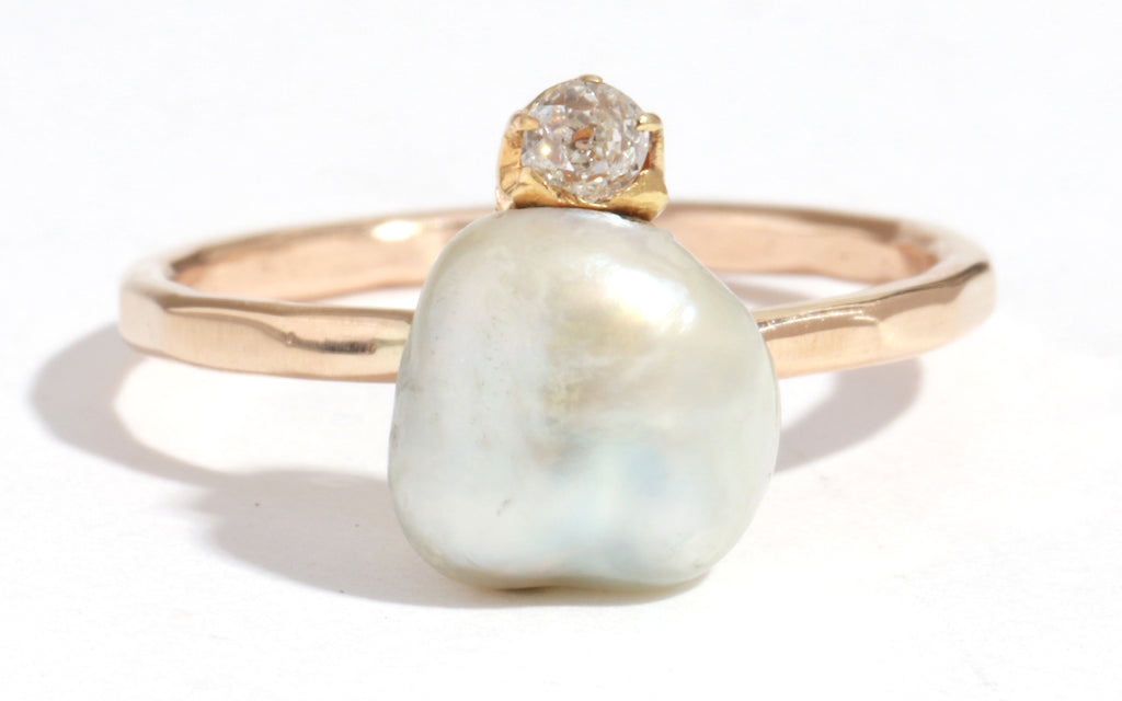 Vintage Pearl with Diamond Ring - Melissa Joy Manning Jewelry