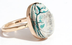 Vintage Faded Blue Scarab Beetle Ring