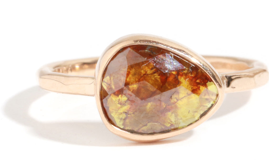 Red and Brown Rounded Pear Shaped Diamond Ring