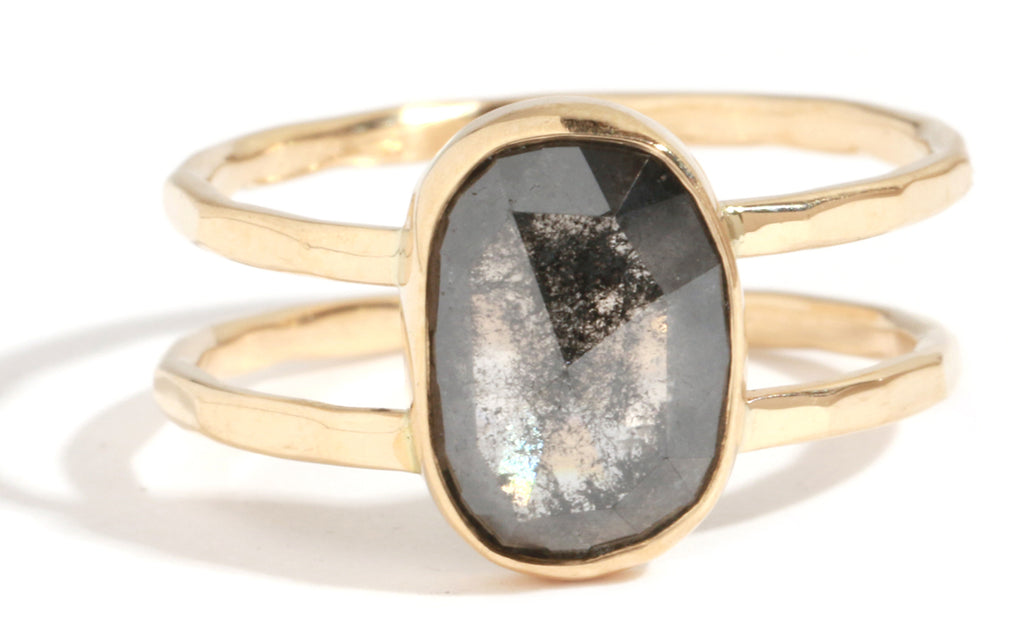 Translucent Black Diamond Double Band Ring