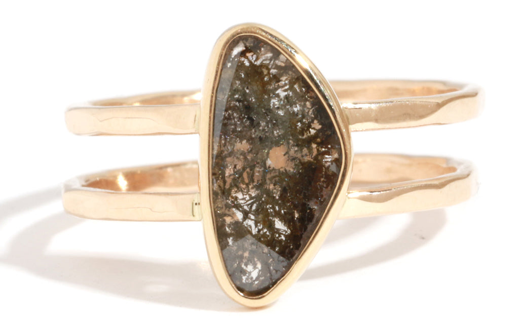 Rustic Triangular Brown Diamond Double Band Ring