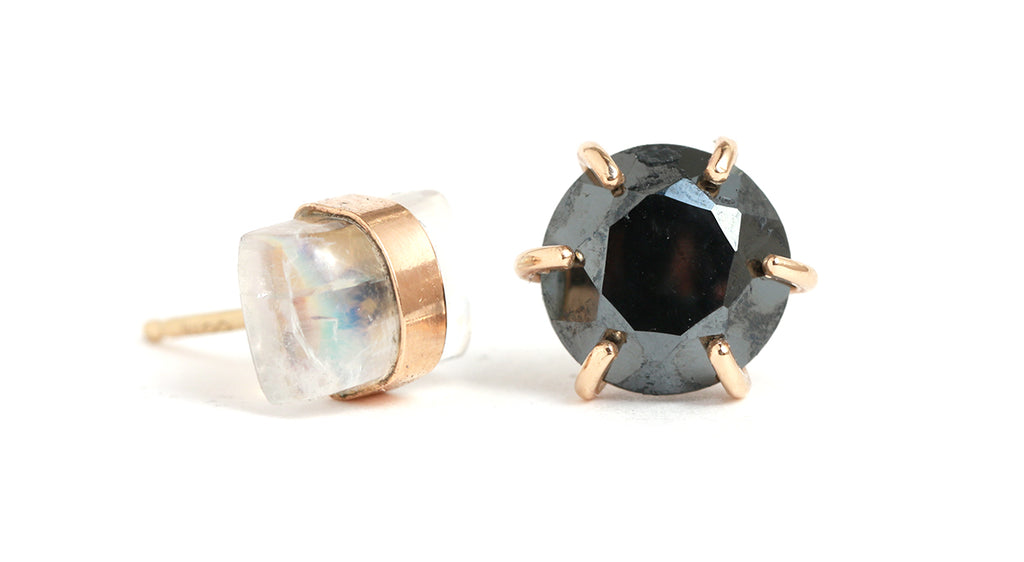 Moonstone and Hematite Mismatched Studs - Melissa Joy Manning Jewelry