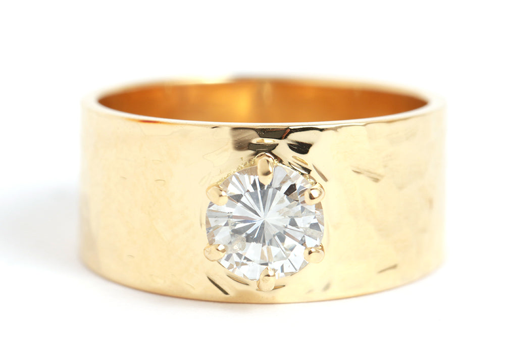 Reclaimed White Diamond Cigar Band Ring