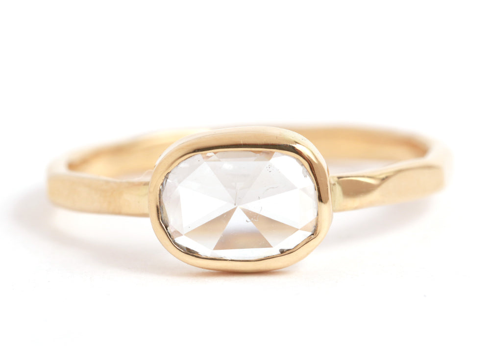 Clear Oval Rosecut Diamond Ring - Melissa Joy Manning Jewelry