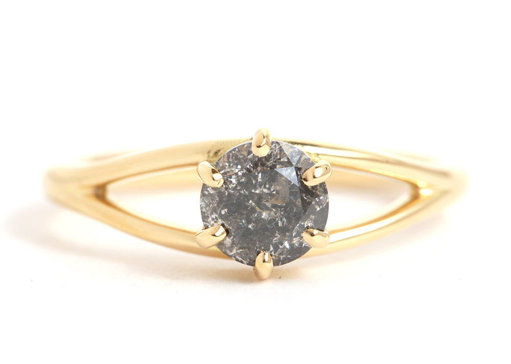 Split Shank Reclaimed Black Diamond Ring - Melissa Joy Manning Jewelry