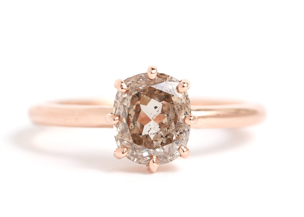 Cushion Cut Rosy Champagne Diamond Ring - Melissa Joy Manning Jewelry