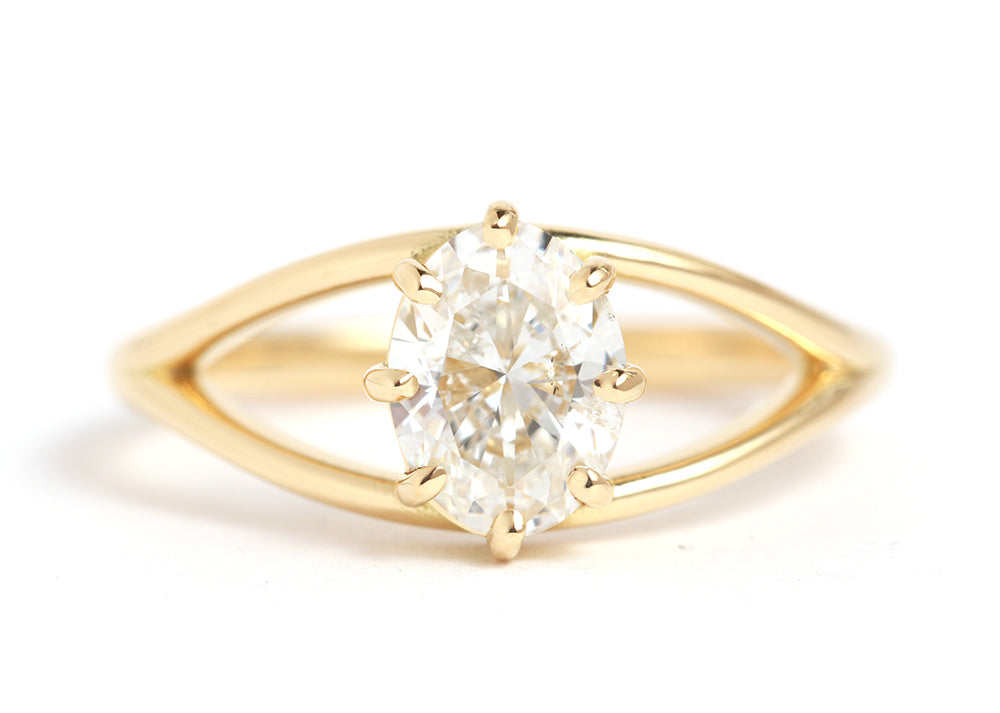 Split Shank Oval Diamond Ring