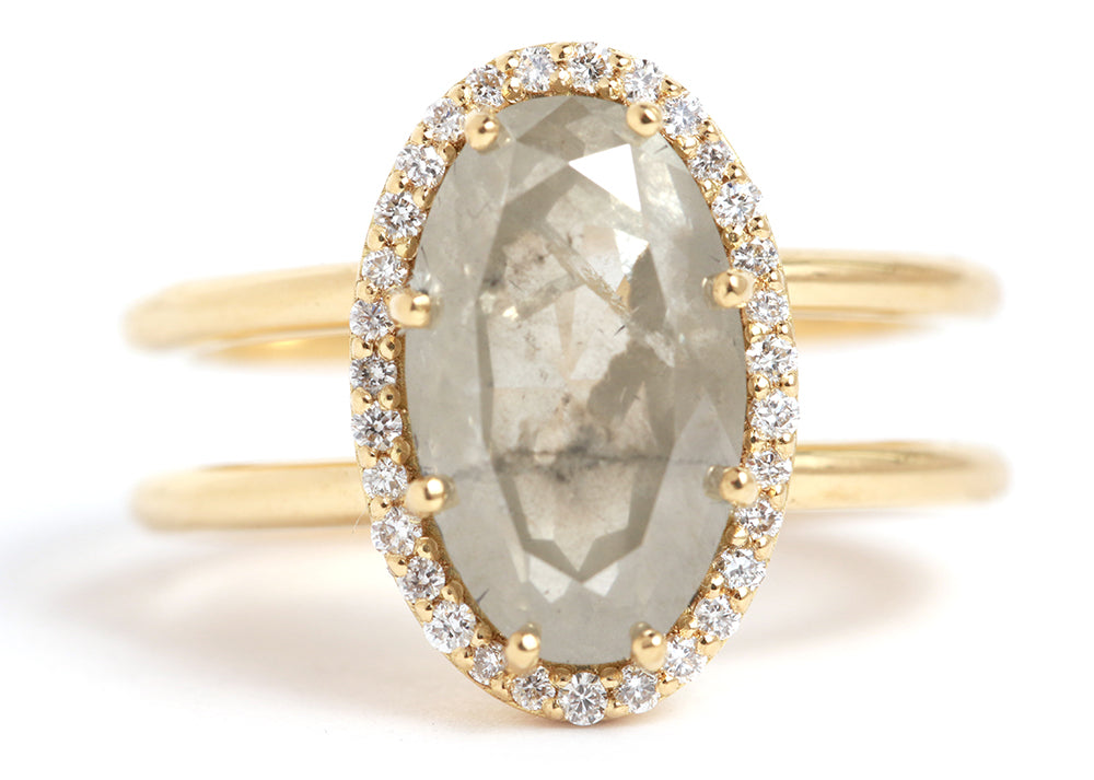 Grey Green Diamond Ring with Pavé Halo - Melissa Joy Manning Jewelry