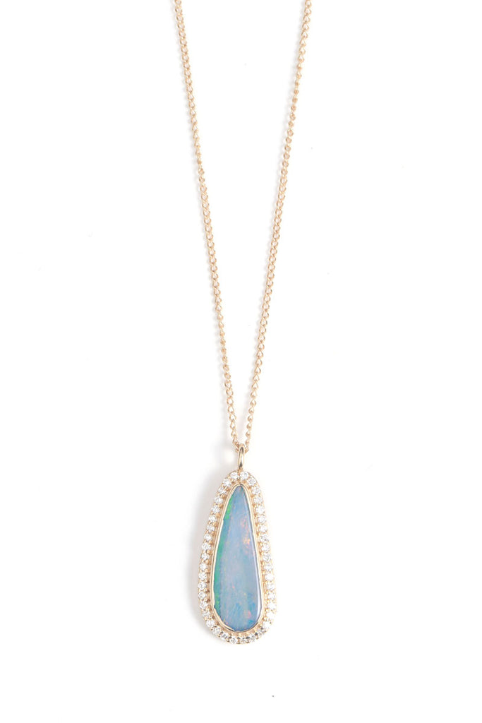 Freeform Blue Opal Necklace with Diamond Halo
