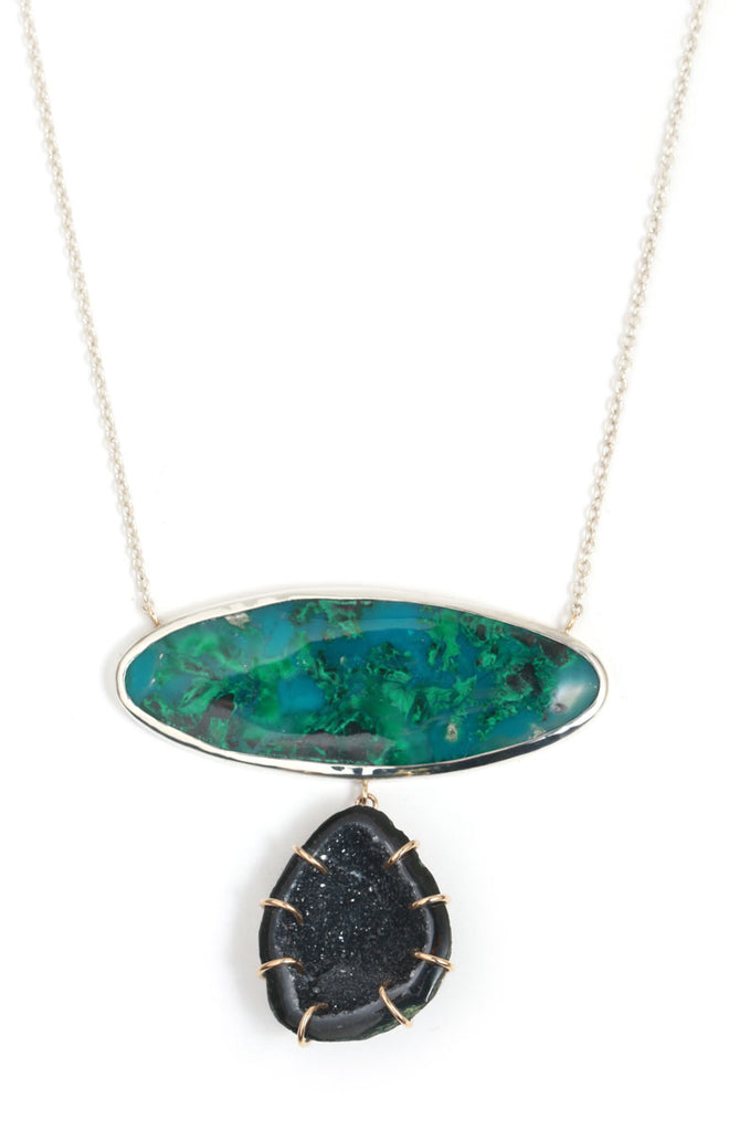 Chrysocolla and Geode Collar Necklace